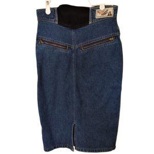 Vintage 1980s pencil denim skirt with front zipper